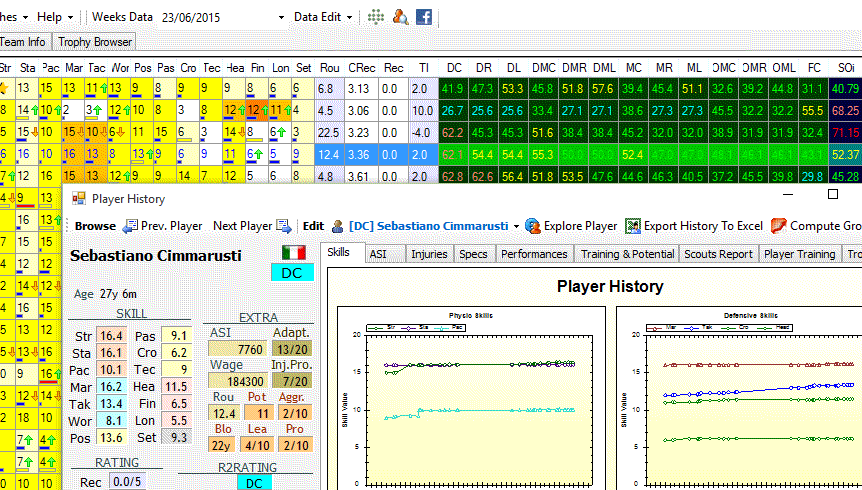 The Layout of the main page with the news in the team panel and the new side panel of the Player info page